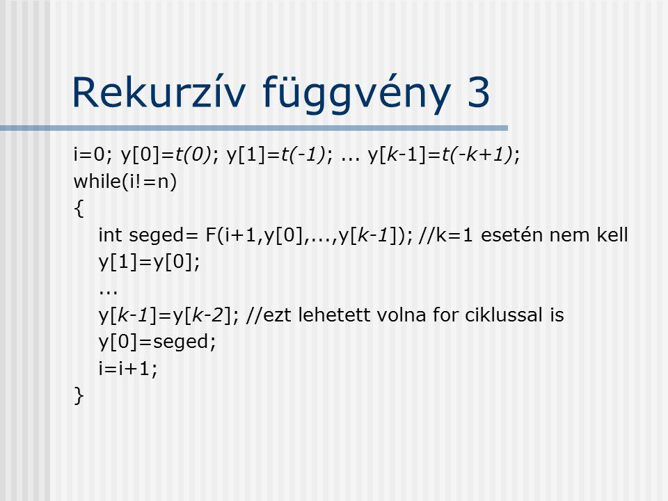 Rekurzív függvény 3 i=0; y[0]=t(0); y[1]=t(-1); ... y[k-1]=t(-k+1);